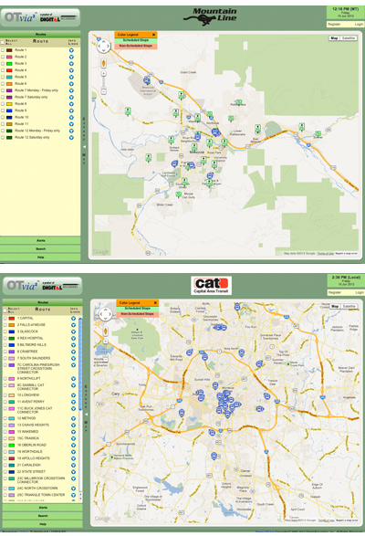 WHAT'S THE DIFFERENCE BETWEEN THESE NEARLY IDENTICAL BUS TRACKING SYSTEMS? The Mountain Line System in Missoula, Mont., (top) has been sued for patent infringement. Raleigh's Capital Area Transit (bottom) hasn't -- at least not yet.