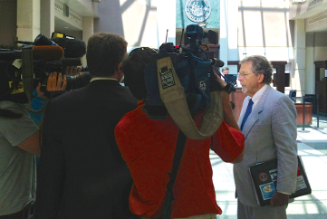 Man at work: Joe Cheshire in the lobby of the Wake County jail. Contributed photo