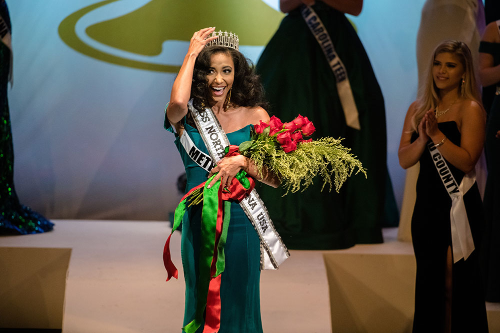 Cheslie Kryst of Poyner Spruill in Charlotte is crowned Miss North Carolina USA in High Point on Oct. 20. (Photo by Sage Media Group Photography.)