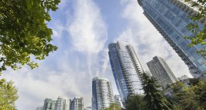 Vancouver BC Canada Downtown Waterfront Condominium Buildings by the Park Along the Seawall