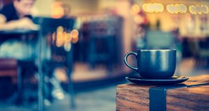 Coffee mug in coffee shop cafe - Vintage effect style pictures