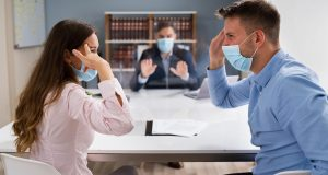 Angry Family Dispute With Lawyer In Court Wearing Face Masks